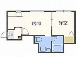 J'sコート東札幌 2階1DKの間取り