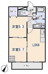 愛知県岡崎市洞町字五位原の賃貸アパートの間取り