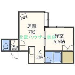 北海道札幌市東区北十八条東18丁目の賃貸アパートの間取り