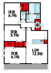 JR鹿児島本線 福間駅 徒歩9分の賃貸アパート 2階3LDKの間取り