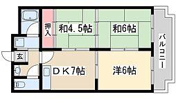 阪急京都本線 淡路駅 徒歩16分の賃貸マンション 3階3DKの間取り