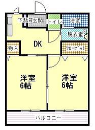ミドリハイム B[2階]の間取り