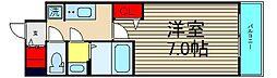 ファステ―ト難波グランプリ 15階1Kの間取り