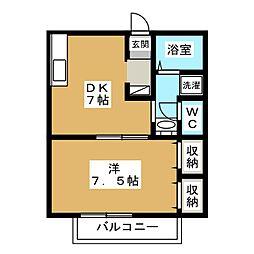 ドミール賀茂[2階]の間取り