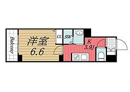 JR総武線 千葉駅 徒歩8分の賃貸マンション 3階1Kの間取り