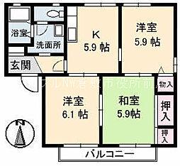 岡山県倉敷市田ノ上の賃貸アパートの間取り