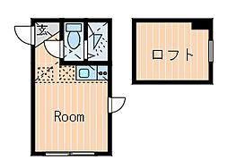 神奈川県横浜市港北区篠原東1丁目の賃貸アパートの間取り