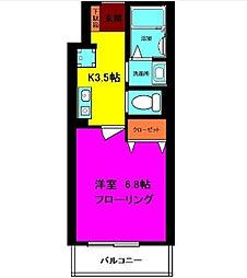東京都足立区古千谷2丁目の賃貸アパートの間取り