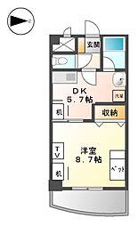 愛知県名古屋市北区駒止町2丁目の賃貸マンションの間取り