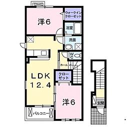 福岡県福岡市西区徳永北の賃貸アパートの間取り