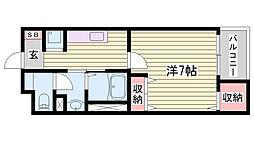 JR東海道・山陽本線 姫路駅 徒歩29分の賃貸マンション 3階1Kの間取り