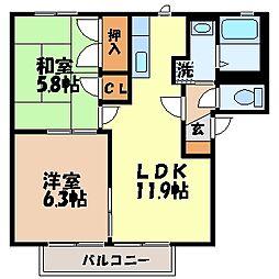 長崎県諫早市小川町の賃貸アパートの間取り