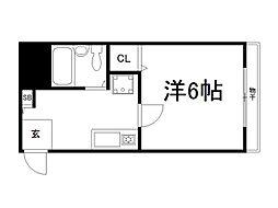 京都府京都市伏見区深草大亀谷西寺町の賃貸アパートの間取り