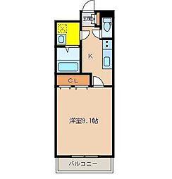 ハートピュア宇和田[107号室]の間取り