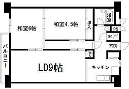 九条住宅B棟[9階]の間取り