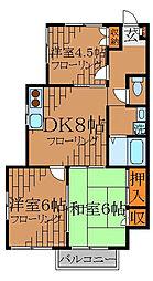 東京都中野区野方5丁目の賃貸マンションの間取り