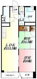 埼玉県熊谷市石原2丁目の賃貸マンションの間取り