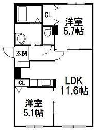 北海道札幌市豊平区平岸五条10丁目の賃貸マンションの間取り