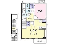 カリダ−デ E[2階]の間取り