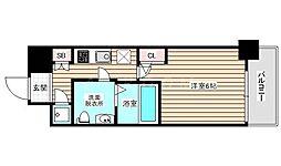 アドバンス西梅田ラシュレ 7階1Kの間取り
