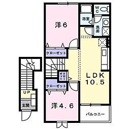 香川県三豊市山本町大野の賃貸アパートの間取り