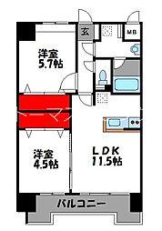JR鹿児島本線 千早駅 徒歩4分の賃貸マンション 4階2LDKの間取り