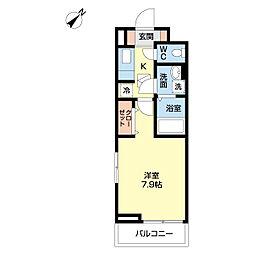 小田急小田原線 読売ランド前駅 徒歩10分の賃貸アパート 2階1Kの間取り