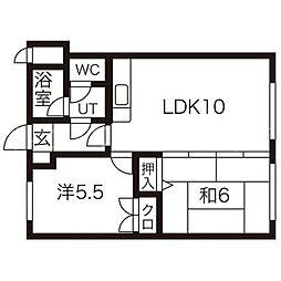 ロイヤルレインボー平岸A棟[5階]の間取り