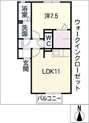 RESIDENCE SAKOHVIII A棟 1階1LDKの間取り