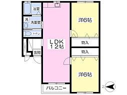 JR鹿児島本線 熊本駅 バス60分 本町下車 徒歩5分の賃貸アパート 1階2LDKの間取り