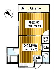 神奈川県横浜市鶴見区鶴見1丁目の賃貸アパートの間取り