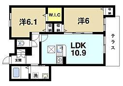 奈良県奈良市青野町2丁目の賃貸アパートの間取り