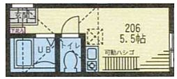 神奈川県横浜市鶴見区生麦4丁目の賃貸アパートの間取り