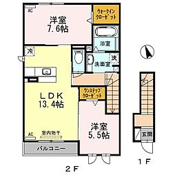 愛知県安城市南町の賃貸アパートの間取り