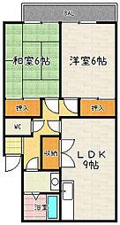 ハイツITO[3-B号室]の間取り