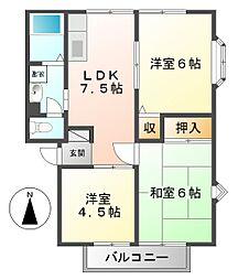 兵庫県西宮市東鳴尾町2丁目の賃貸アパートの間取り