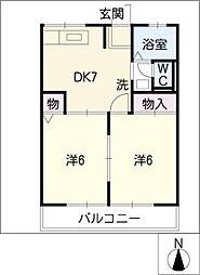 ピースフルI[2階]の間取り