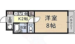 若草フェニックスマンション 3階1Kの間取り