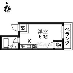 JR東海道・山陽本線 西大路駅 徒歩14分の賃貸マンション 3階ワンルームの間取り