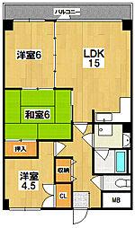 コージーコート北永井[3階]の間取り