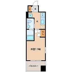 レジディア仙台上杉 5階1Kの間取り