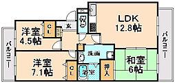兵庫県伊丹市中野西4丁目の賃貸マンションの間取り