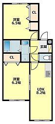 愛知県岡崎市洞町字西五位原の賃貸アパートの間取り
