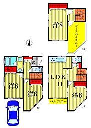 [一戸建] 東京都葛飾区東金町6丁目 の賃貸【/】の間取り