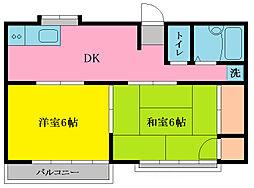 飯田荘[202号室]の間取り