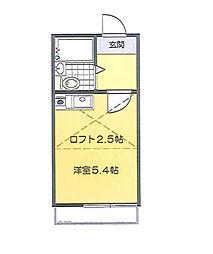 東京都調布市飛田給1丁目の賃貸アパートの間取り