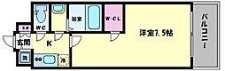 エスリード大阪城PREMIER 10階1Kの間取り
