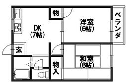 京都府向日市寺戸町中野の賃貸アパートの間取り