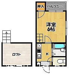 福岡県福岡市博多区諸岡4の賃貸アパートの間取り