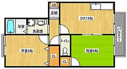 京都府京都市西京区松室扇田町の賃貸アパートの間取り